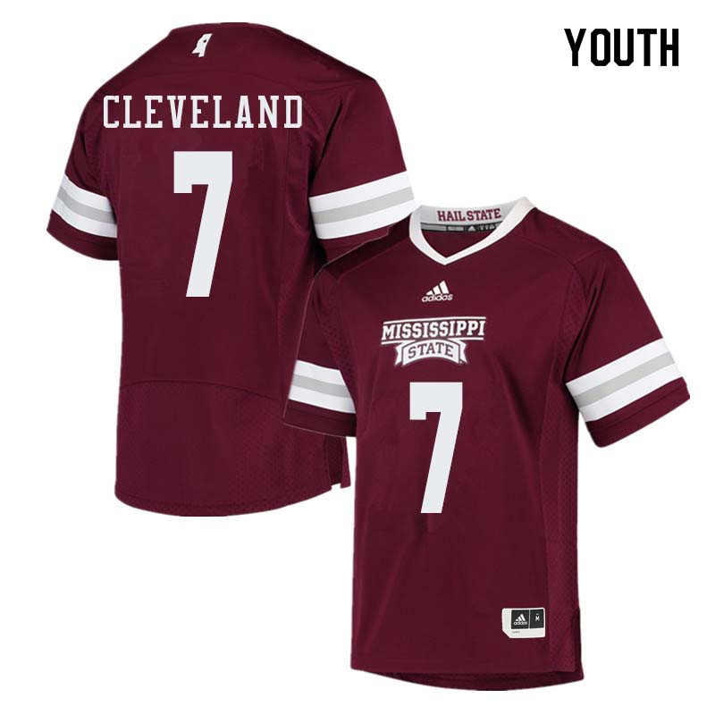 Youth #7 Tolando Cleveland Mississippi State Bulldogs College Football Jerseys Sale-Maroon