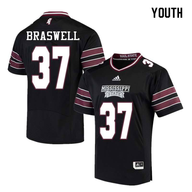 Youth #37 Trey Braswell Mississippi State Bulldogs College Football Jerseys Sale-Black