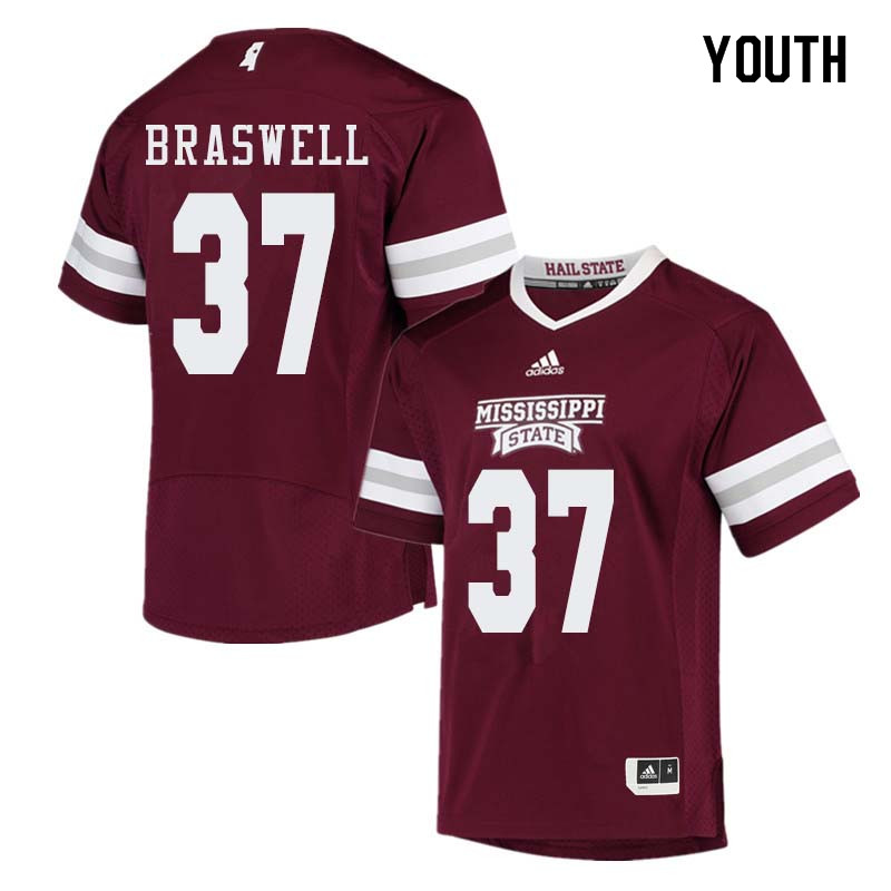 Youth #37 Trey Braswell Mississippi State Bulldogs College Football Jerseys Sale-Maroon