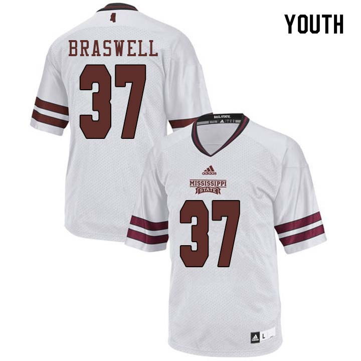 Youth #37 Trey Braswell Mississippi State Bulldogs College Football Jerseys Sale-White