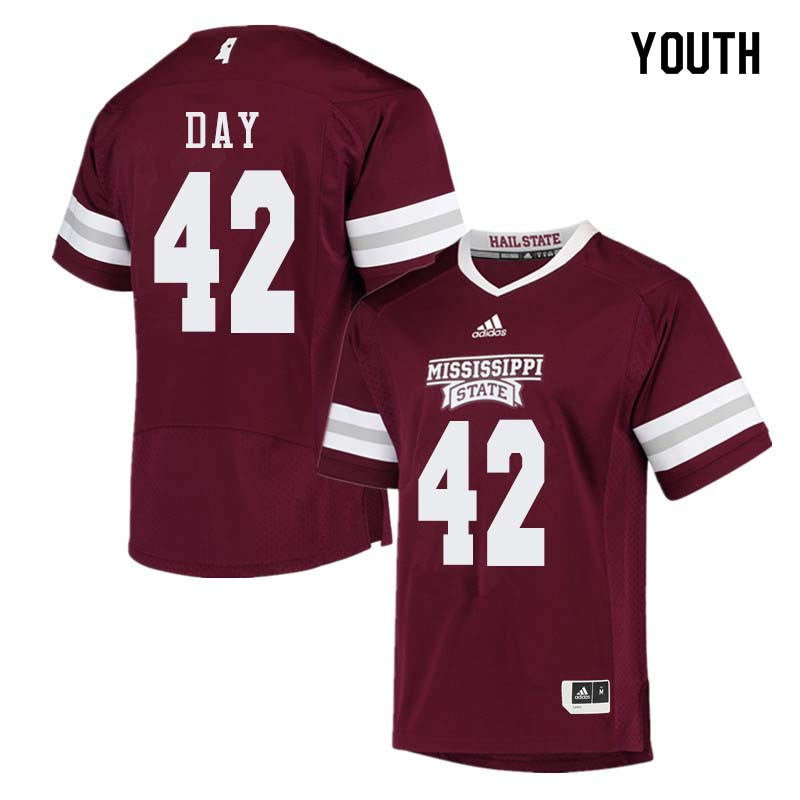 Youth #42 Tucker Day Mississippi State Bulldogs College Football Jerseys Sale-Maroon