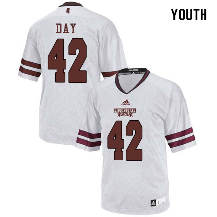 Youth #42 Tucker Day Mississippi State Bulldogs College Football Jerseys Sale-White