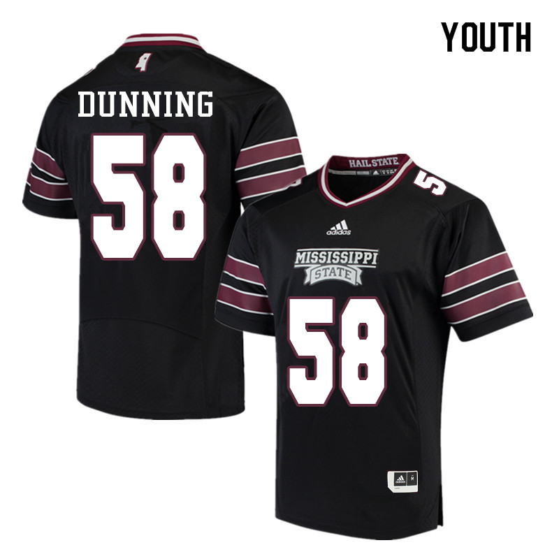 Youth #58 Tyler Dunning Mississippi State Bulldogs College Football Jerseys Sale-Black