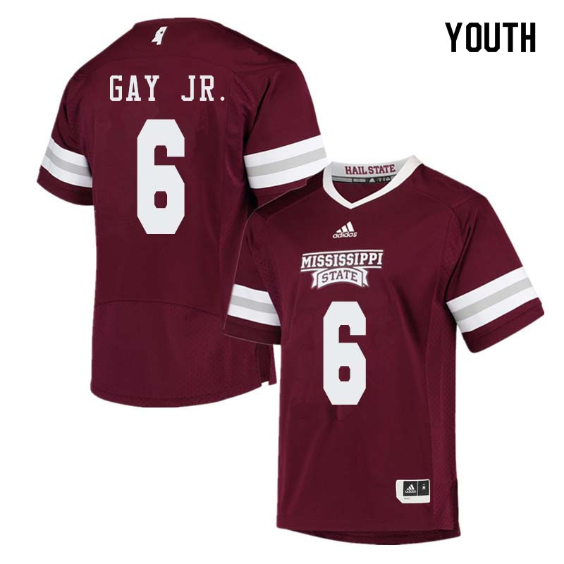 Youth #6 Willie Gay Jr. Mississippi State Bulldogs College Football Jerseys Sale-Maroon