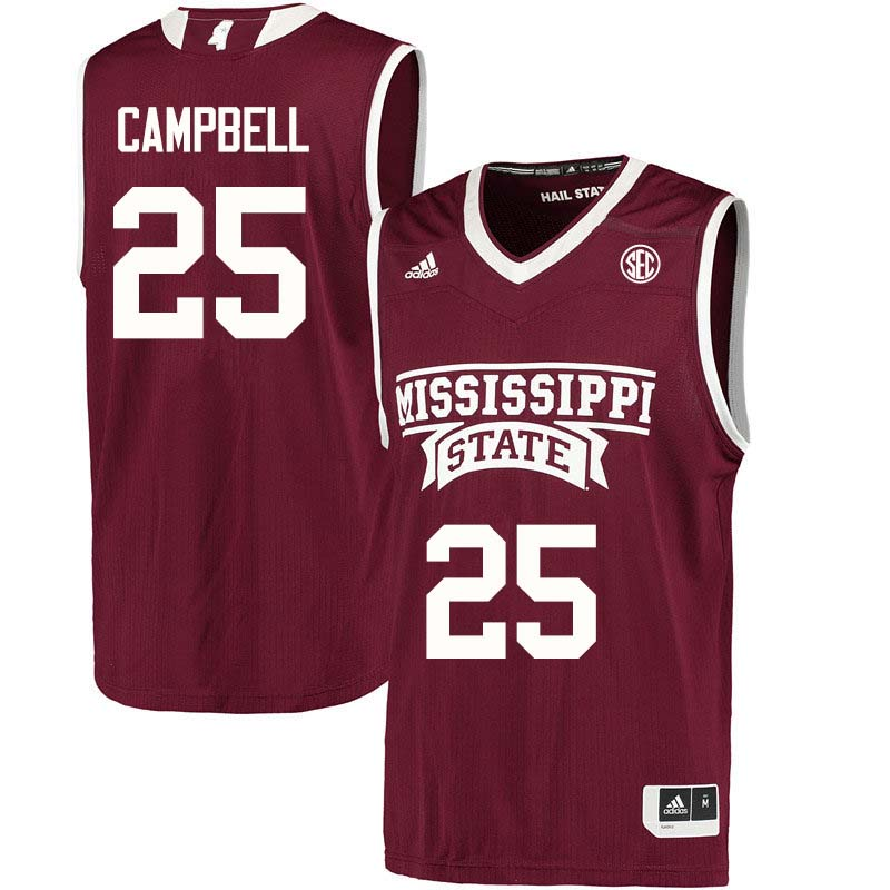 Youth #25 Zion Campbell Mississippi State Bulldogs College Basketball Jerseys Sale-Maroon